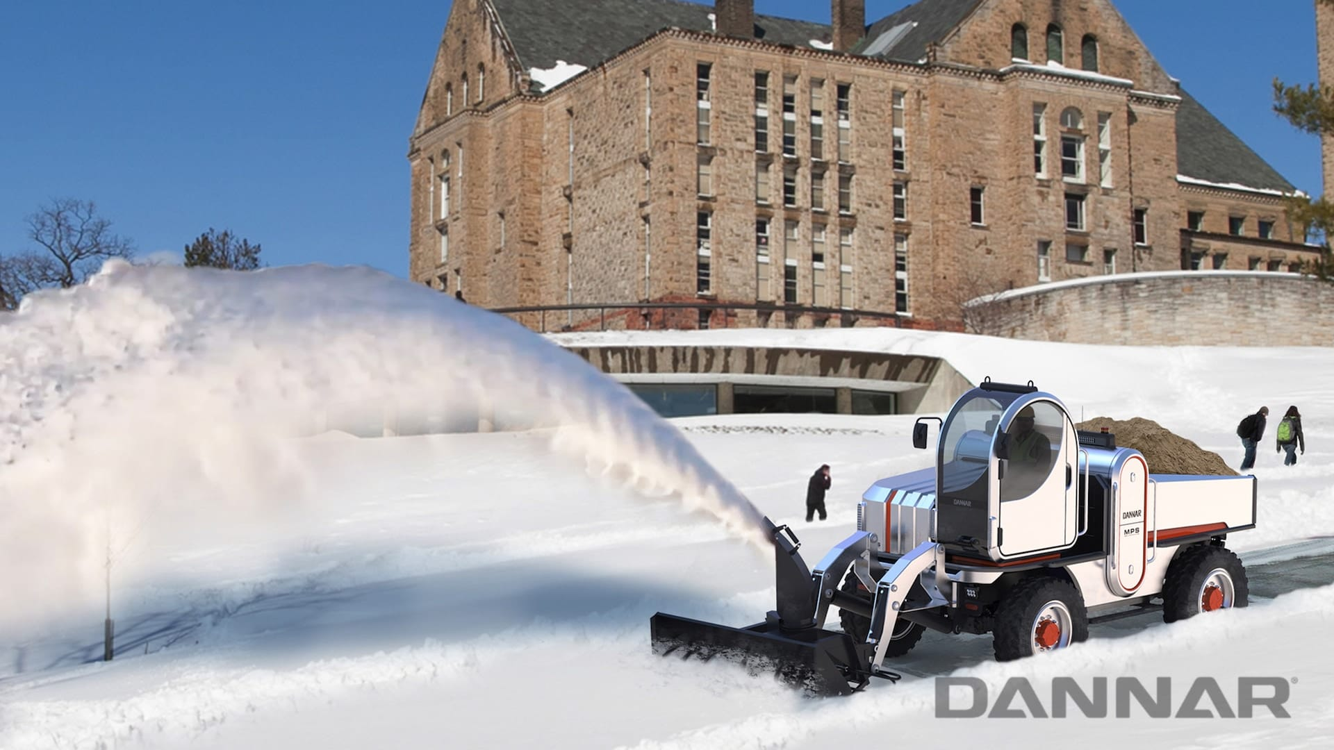 DANNAR 400 supporting vital infrastructure by clearing snow on a college campus