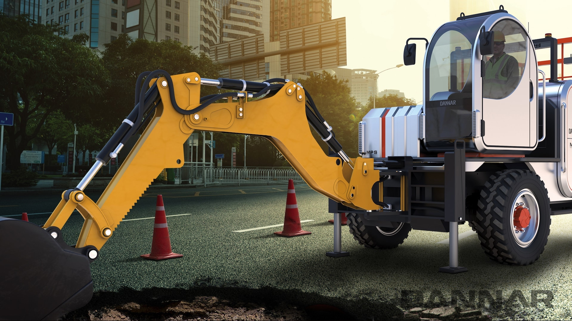 DANNAR 400 MPS with front loader repairing road in the city
