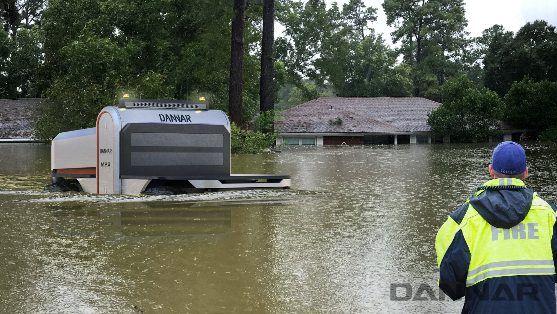 DANNAR 400 driving through flood water helping with disaster response